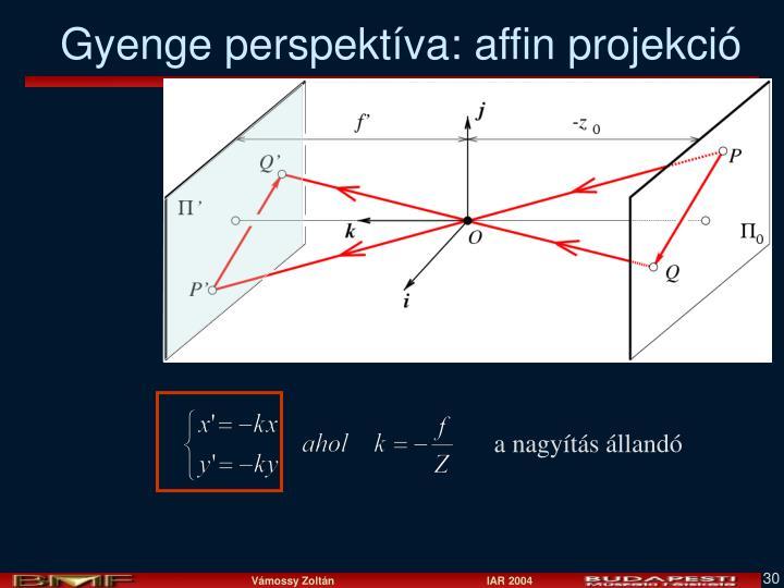 Gyenge perspektíva: affin projekció