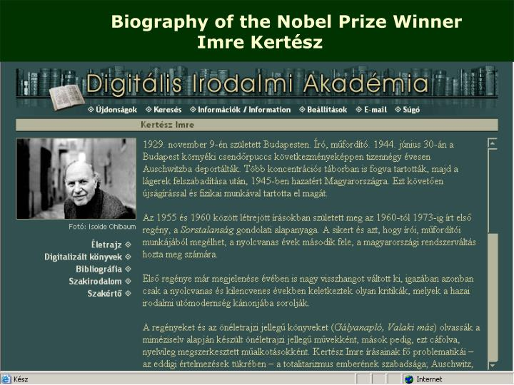 Biography of the Nobel Prize Winner