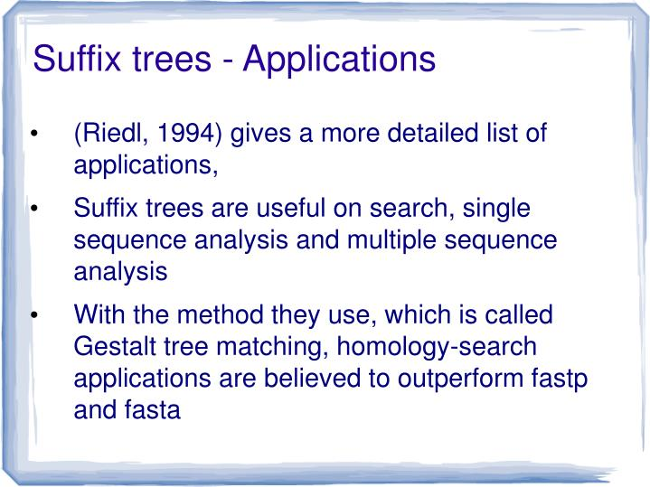 Suffix trees - Applications