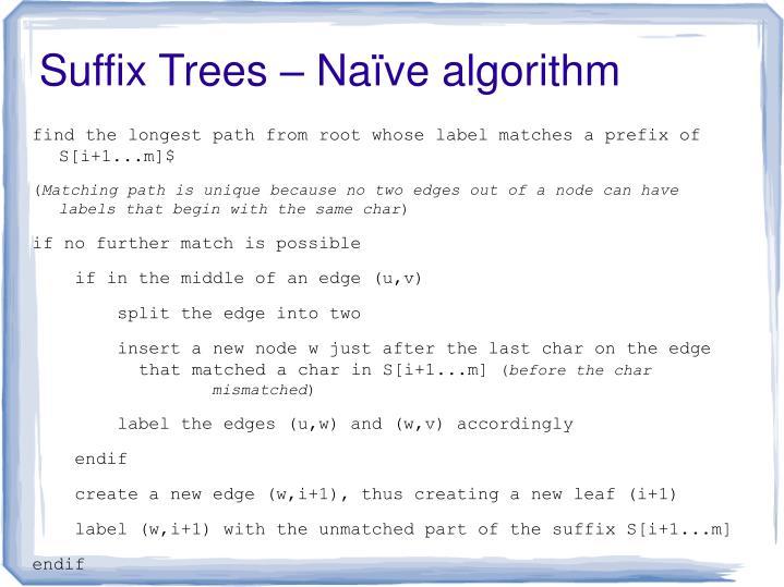 Suffix Trees – Naïve algorithm