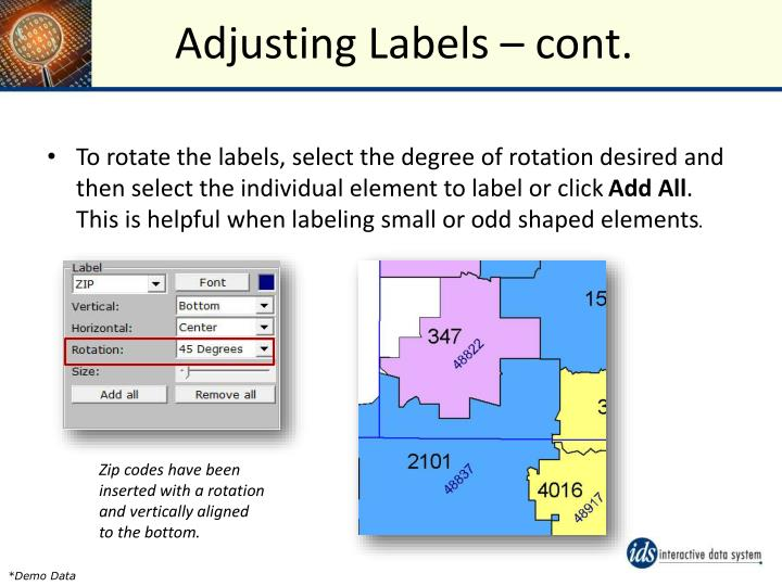 Adjusting Labels – cont.