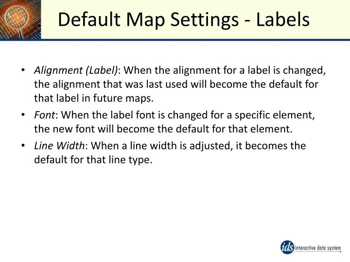 Default Map Settings - Labels