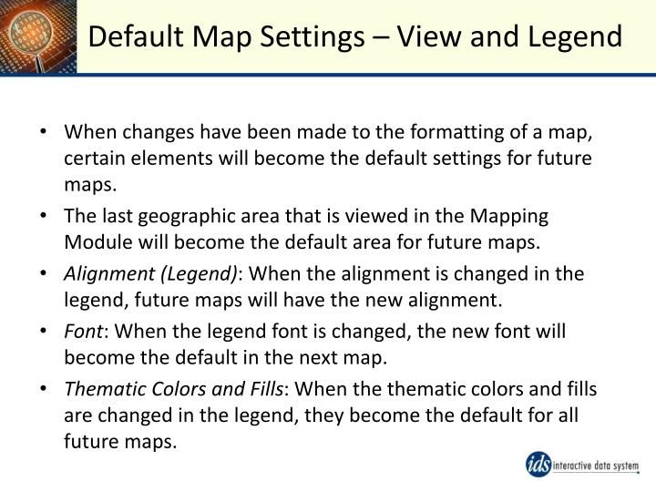 Default Map Settings – View and Legend