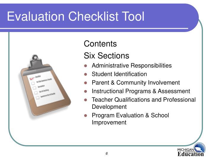 Evaluation Checklist Tool