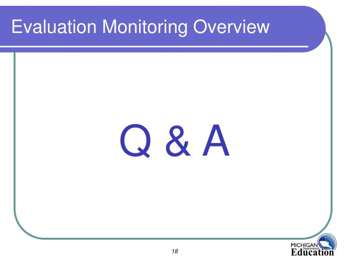 Evaluation Monitoring Overview