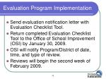 evaluation program implementation