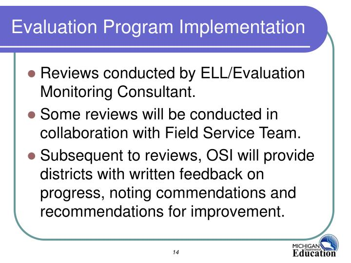 Evaluation Program Implementation
