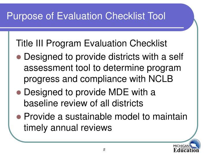 Purpose of Evaluation Checklist Tool