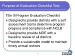 purpose of evaluation checklist tool