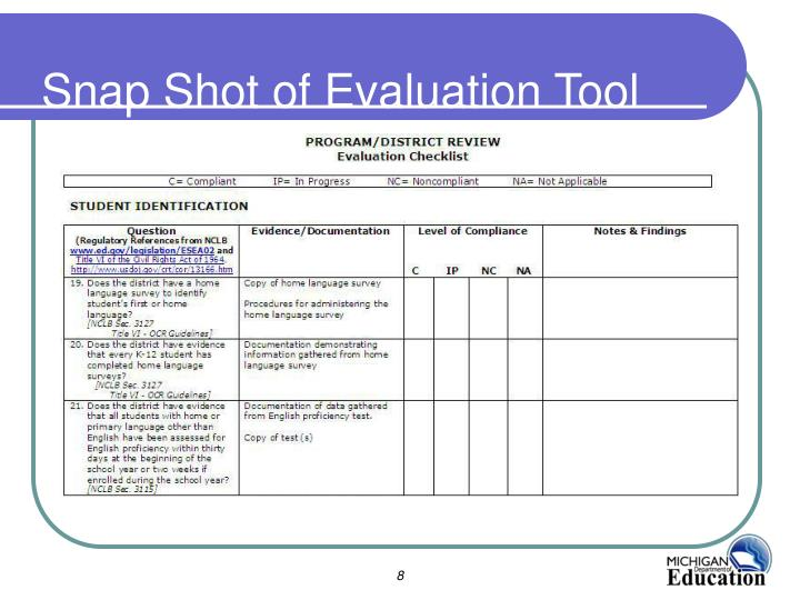 Snap Shot of Evaluation Tool