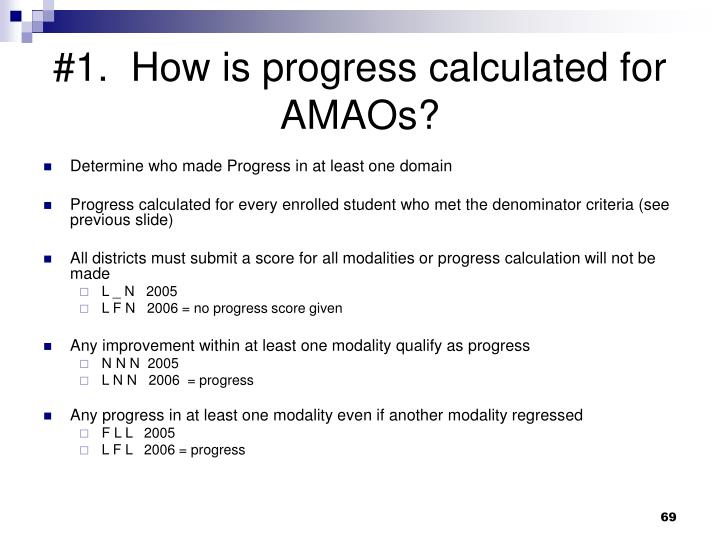 #1.  How is progress calculated for AMAOs?