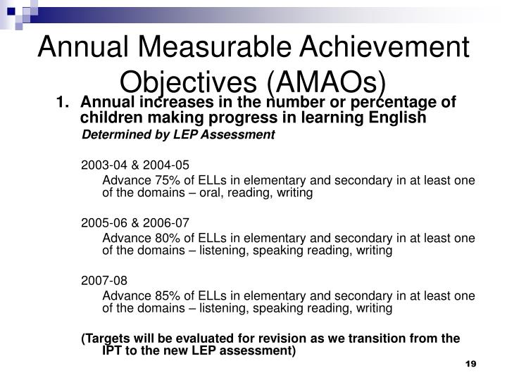 Annual Measurable Achievement Objectives (AMAOs)