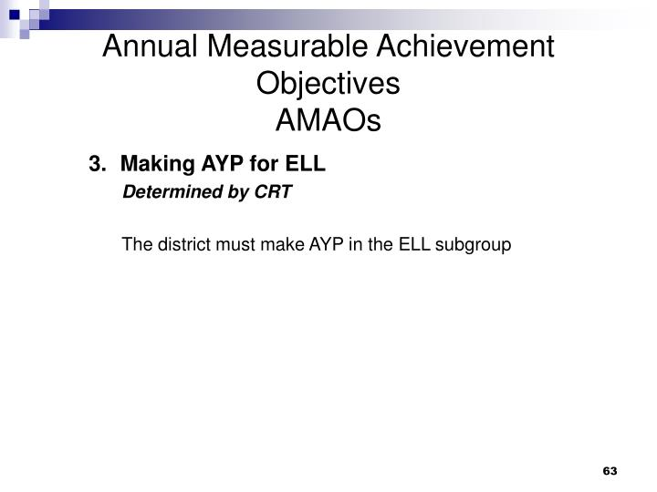 Annual Measurable Achievement Objectives