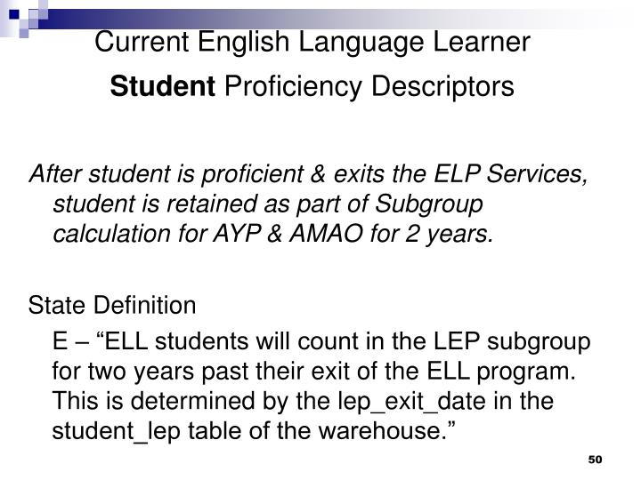 Current English Language Learner