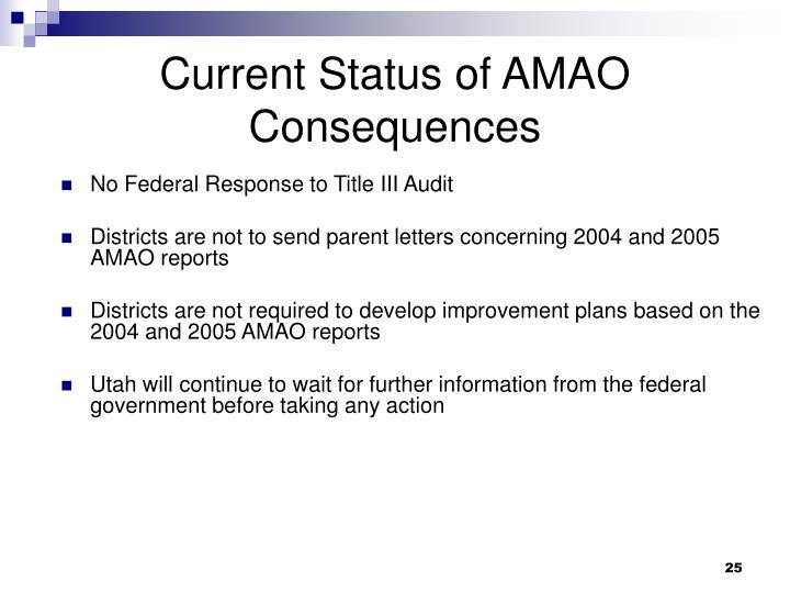 Current Status of AMAO Consequences