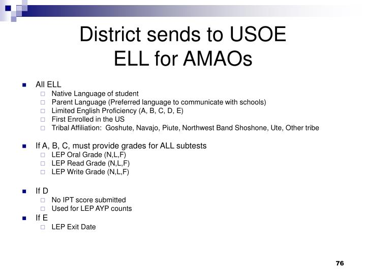 District sends to USOE