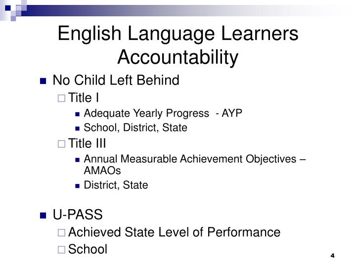 English Language Learners Accountability