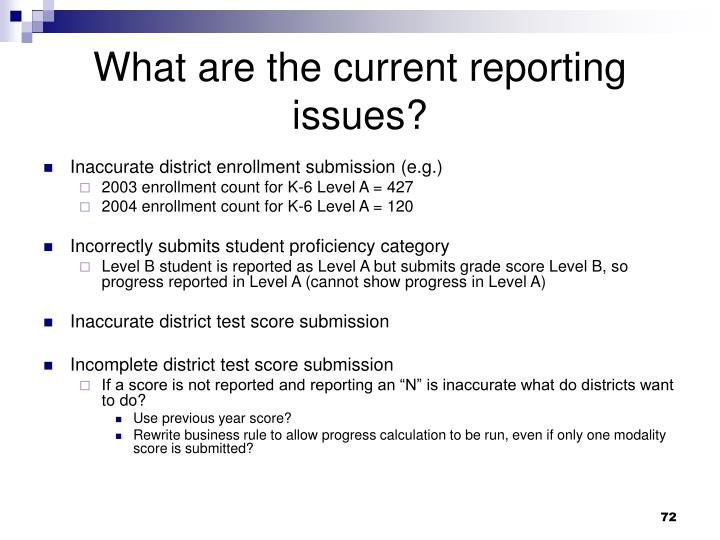 What are the current reporting issues?