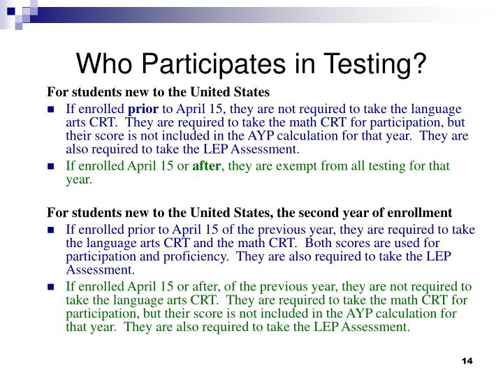 Who Participates in Testing?