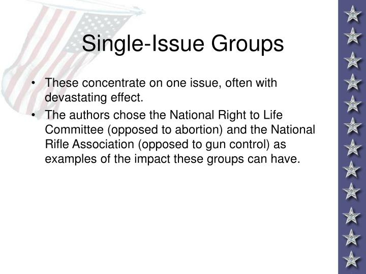 Single-Issue Groups