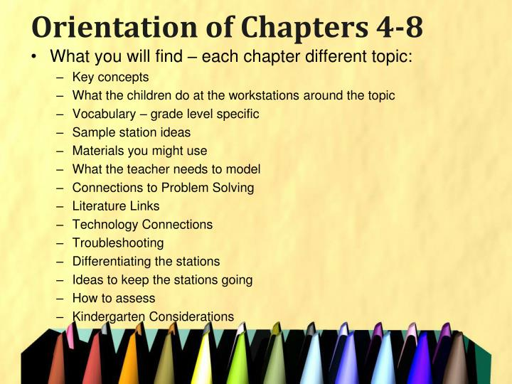 Orientation of Chapters 4-8