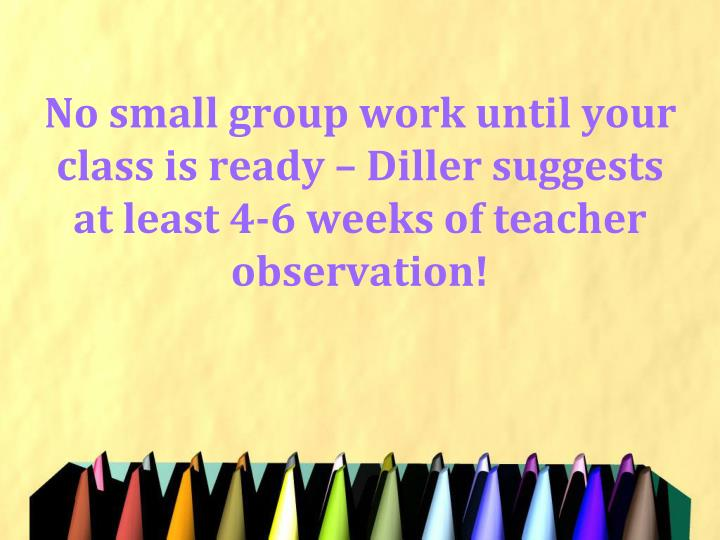 No small group work until your class is ready – Diller suggests at least 4-6 weeks of teacher observation!
