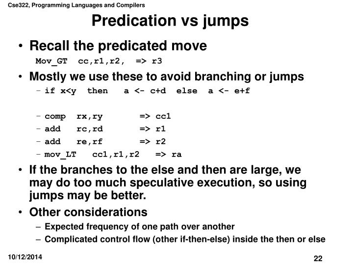 Predication vs jumps