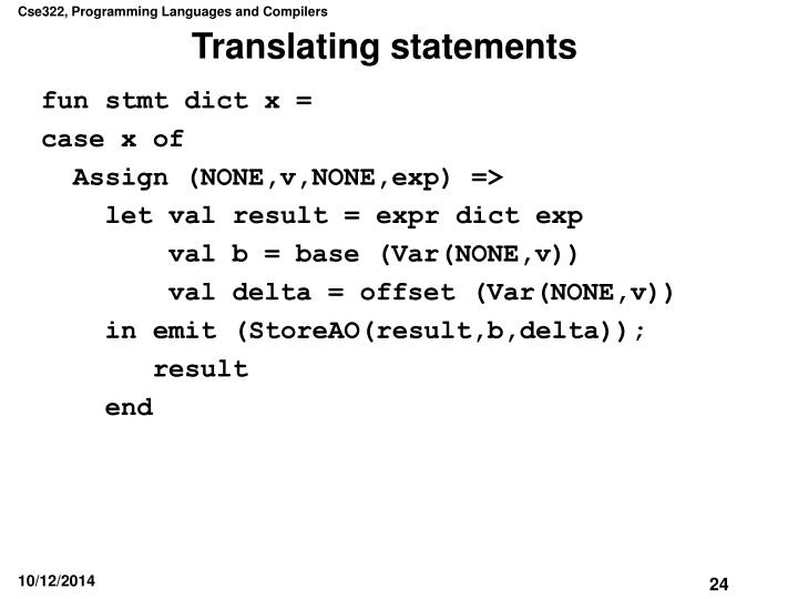 Translating statements
