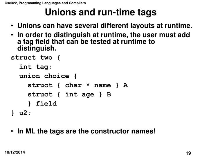 Unions and run-time tags