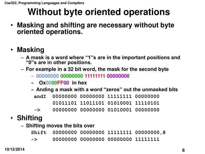 Without byte oriented operations