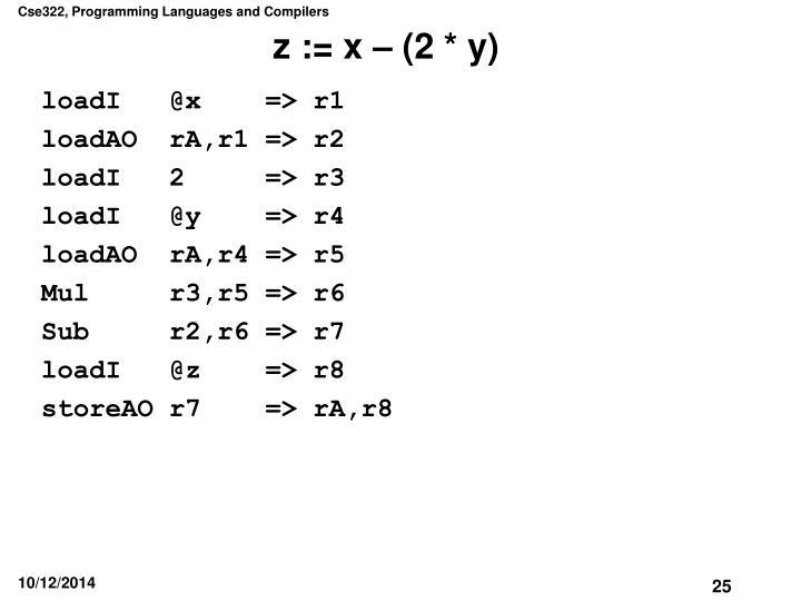 z := x – (2 * y)