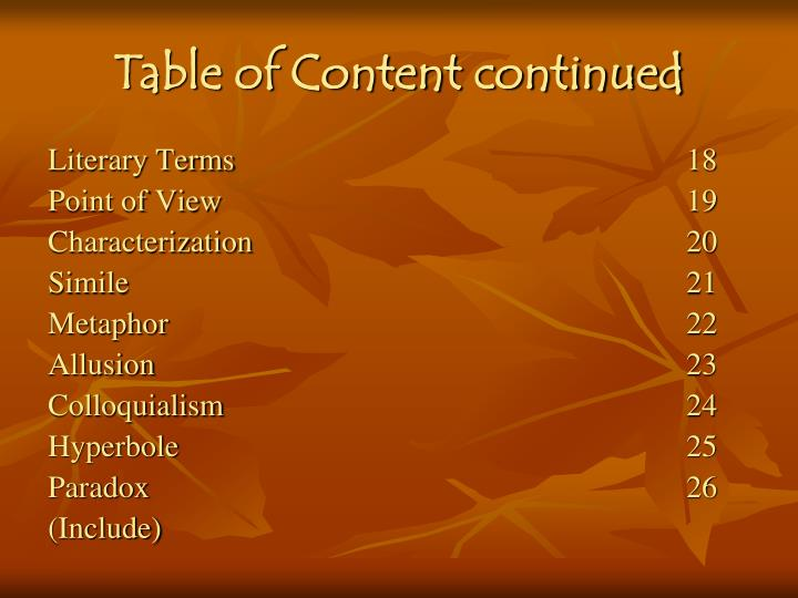 Table of Content continued