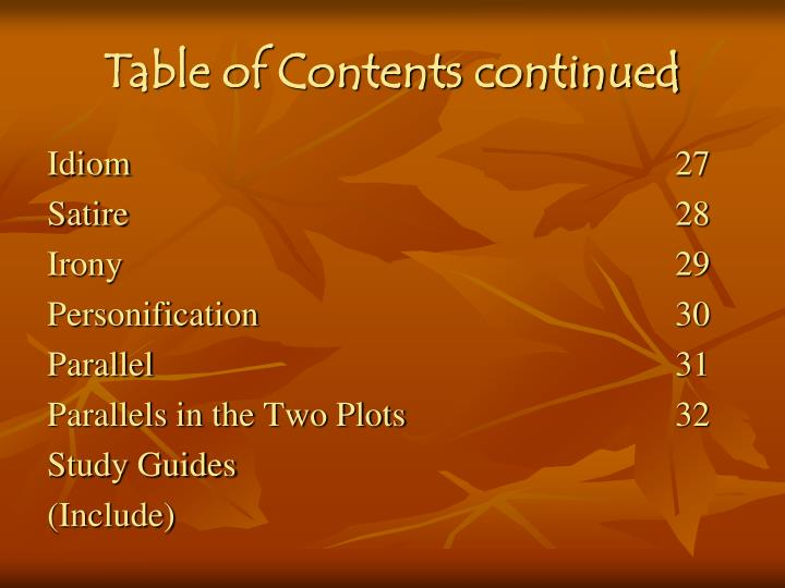 Table of Contents continued