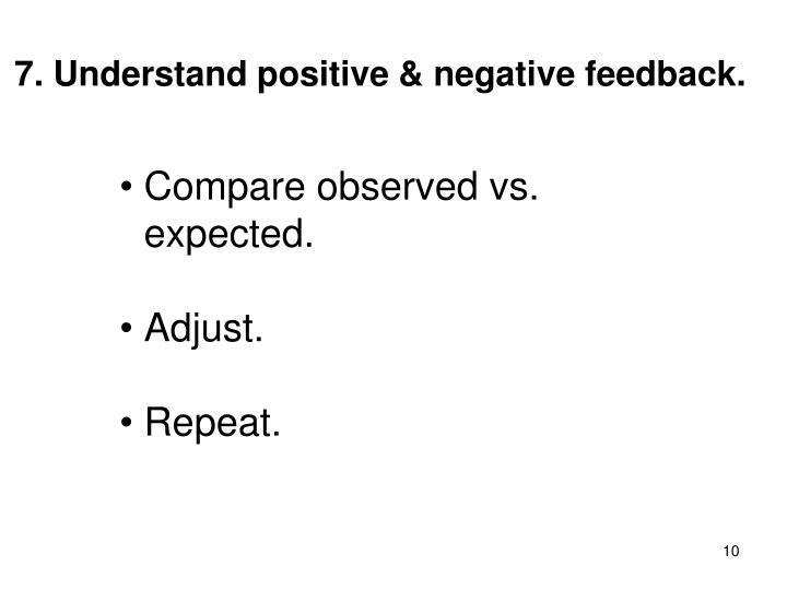 7. Understand positive & negative feedback.