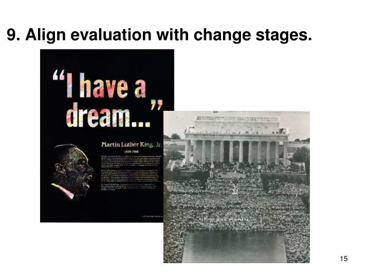 9. Align evaluation with change stages.