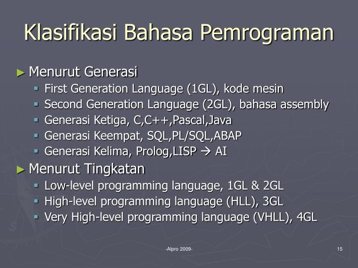 Klasifikasi Bahasa Pemrograman