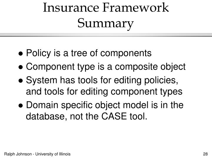 Insurance Framework Summary