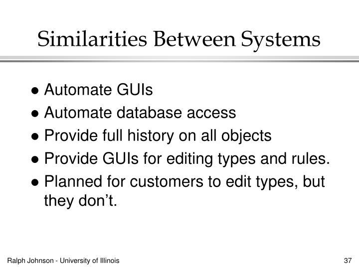 Similarities Between Systems