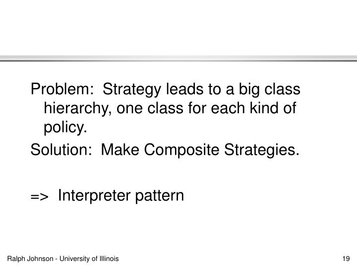 Problem:  Strategy leads to a big class hierarchy, one class for each kind of policy.