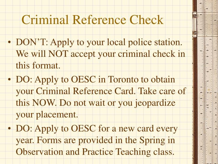 Criminal Reference Check