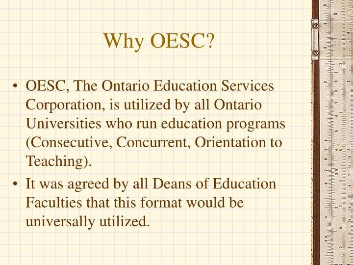 Why OESC?