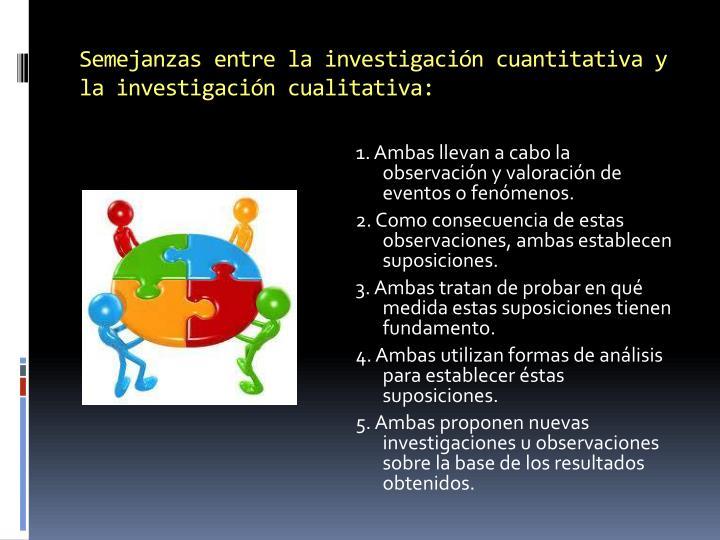 Semejanzas entre la investigación cuantitativa y la investigación cualitativa: