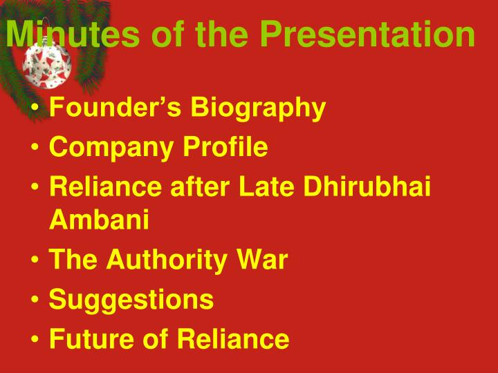 Minutes of the presentation