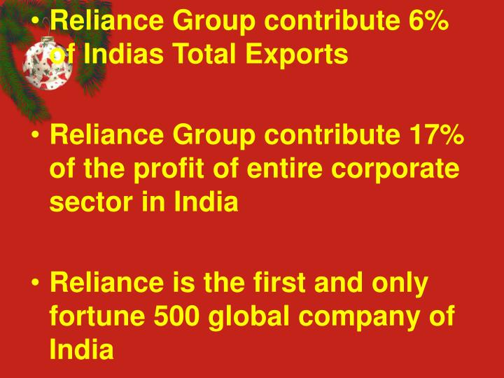 Reliance Group contribute 6% of Indias Total Exports