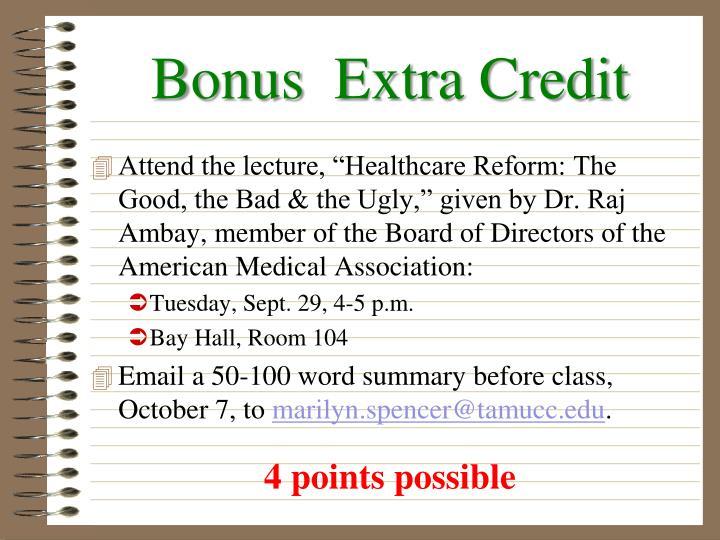 Bonus  Extra Credit