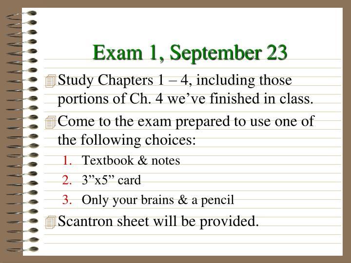Exam 1, September 23