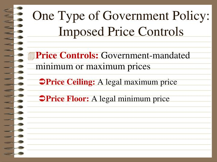 One Type of Government Policy: Imposed Price Controls
