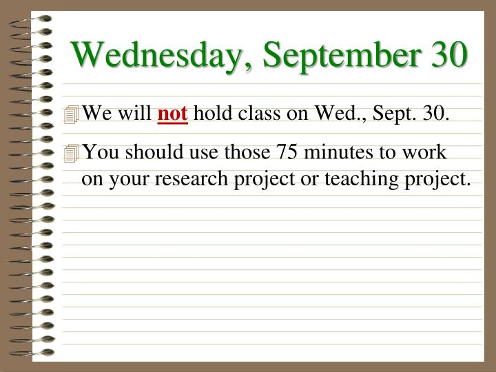 Wednesday, September 30