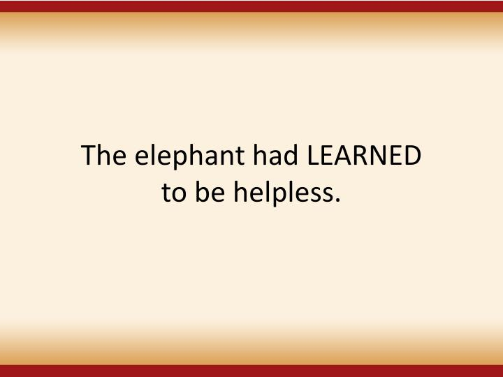 The elephant had LEARNED