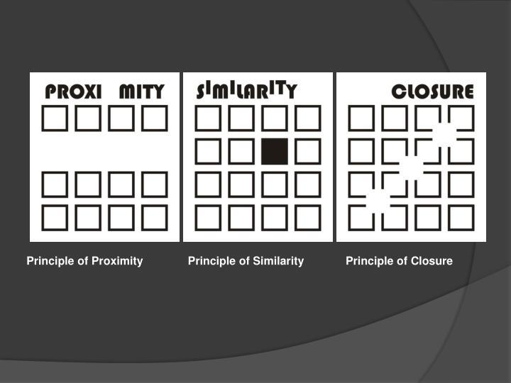Principle of Proximity              Principle of Similarity             Principle of Closure